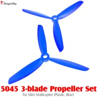 DragonSky (DS-PROP-3-5045-B) 5045 3-blade Propeller Set for Mini Multicopter (Plastic, Blue)