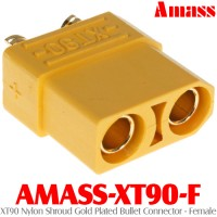 Amass (AMASS-XT90-F) XT90 Nylon Shroud Gold Plated Bullet Connector - Female