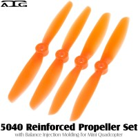 ATG (ATG-5040-P-O) 5040 Reinforced Propeller Set with Balance Injection Molding for Mini Quadcopter (2CW+2CCW, Plastic, Orange)