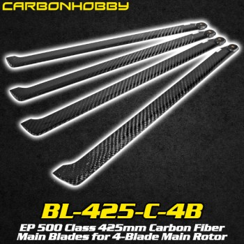 CarbonHobby (BL-425-C-4B) EP 500 Class 425mm Carbon Fiber Main Blades for 4-Blade Main RotorFlybarless / Multi-blades