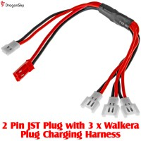 DragonSky (DS-JST-3WALKERA) 2 Pin JST Plug with 3 x Walkera Plug Charging Harness
