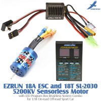 Hobbywing EZRUN 18A ESC and 18T SL-2030 5200KV Sensorless Motor with LED Program Box Brushless System Combo for 1/18 On-road Off-road Sport Car