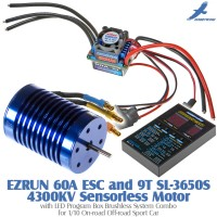 Hobbywing EZRUN 60A ESC and 9T SL-3650S 4300KV Sensorless Motor with LED Program Box Brushless System Combo for 1/10 On-road Off-road Sport Car