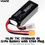 Vcanz Power 14.8V 75C 1550mAh 4S Li-Po Battery with XT60 Plug for Mini Multicopter, Racing Drone