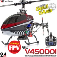 WALKERA New V450D01 Generation II 6 Axis Gyro FPV HD Camera Brushless Flybarless 6CH Helicopter with DEVO F7 Transmitter RTF (Red) - 2.4GHz